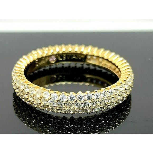 Suzy Levian Ring Gold Tone Sterling Band SZ 7.5